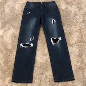 7 For All Mankind Distressed Patched Standard Jean